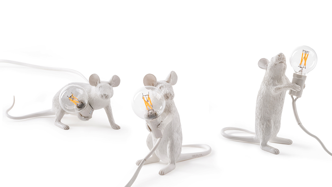 Mouse shaped lamp, in 3 different positions - Marcantonio design