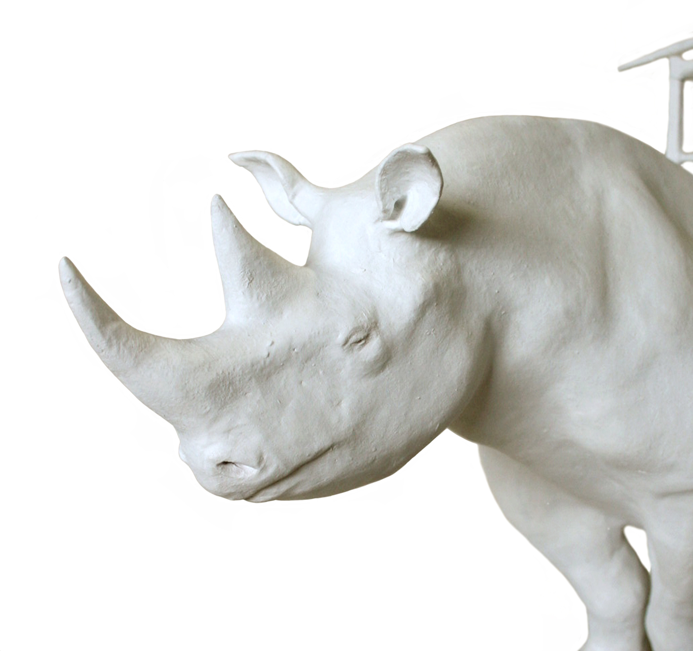 rhino with chair, white painted bronze