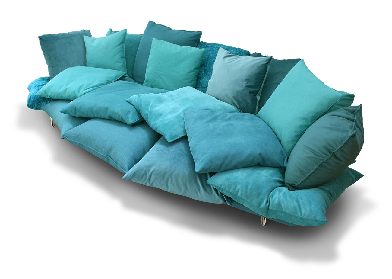 Very comfortable pillows sofa, with a fly attitude - Marcantonio design