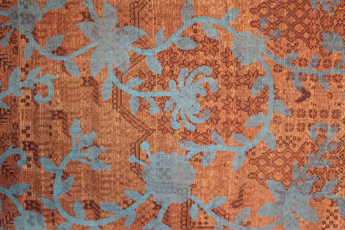 Over painting on a vintage rug - Marcantonio design